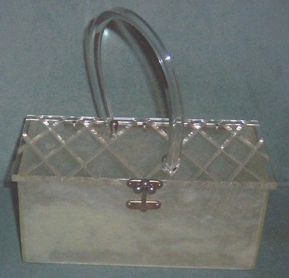 "Reserved For J. Conroy - LUCITE Ivory Color PURSE 1950s RECTANGLE  Angled Single Handle Diamond Pattern Clear Lid Handbag 8"" Long"