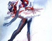 "Original Watercolor Painting Colorful Ballerina Dancer Wall Art/Decoration 8""X11"" by Kristin Glaze"