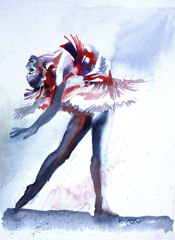 "Original Watercolor Painting Colorful Ballerina Dancer Wall Art/Decoration 8""X11"" by Kristin Glaze"