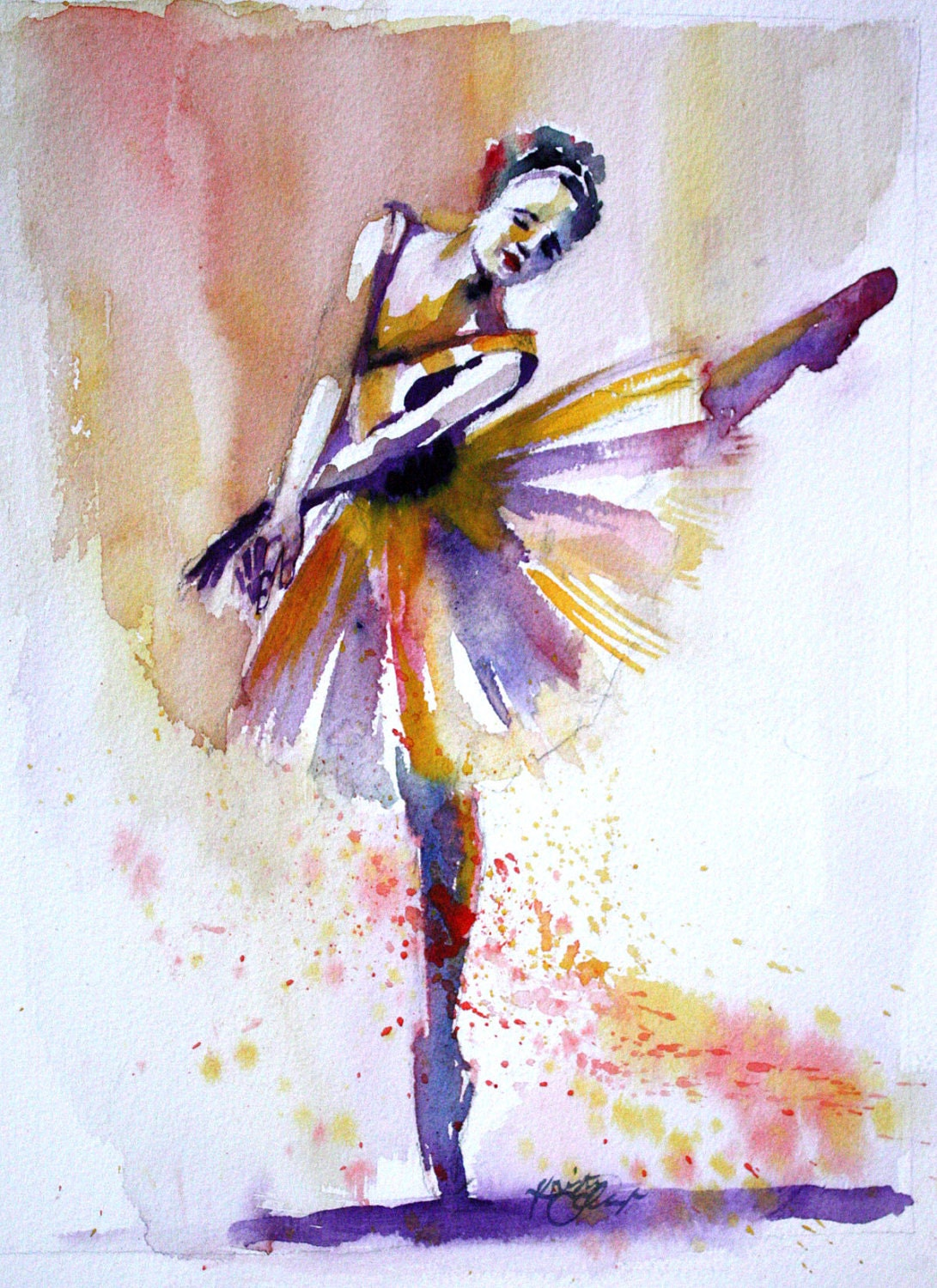 Original watercolor painting colorful ballerina dancer wall for Watercolor painting images