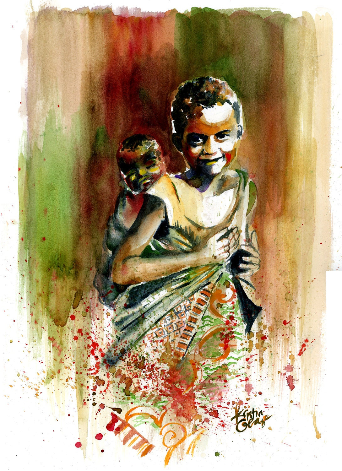 Original Watercolor Painting West African Children Wall