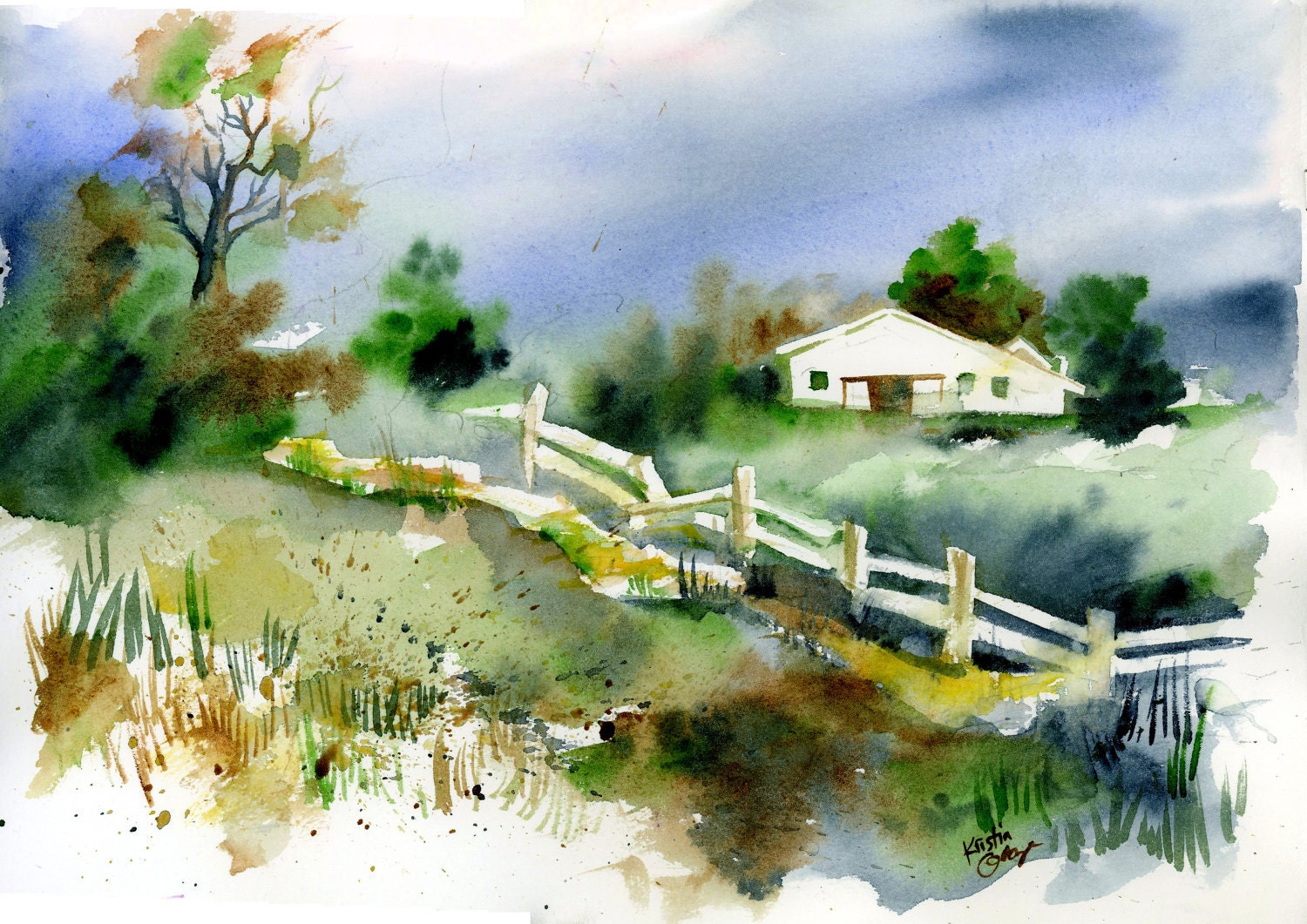 Original watercolor painting country landscape wall art for Watercolor painting images