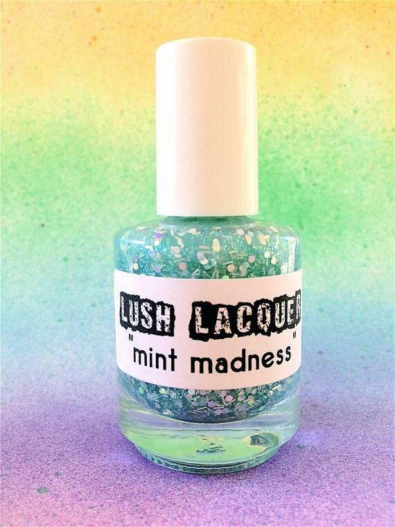 Mint Madness :  Custom-Blended Glitter Nail Polish / Lacquer
