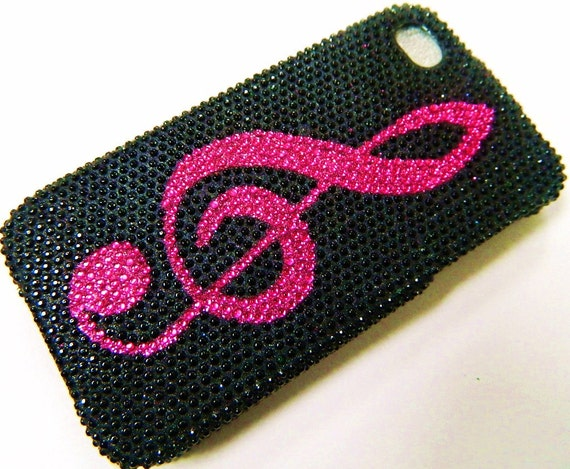 iPhone 4 and iPhone 4S Black and Hot Pink Music Note Art Deco Bling case