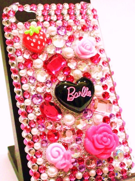 iPhone 4 and iPhone 4S Decoden Style Barbie Bling Rhinestone case