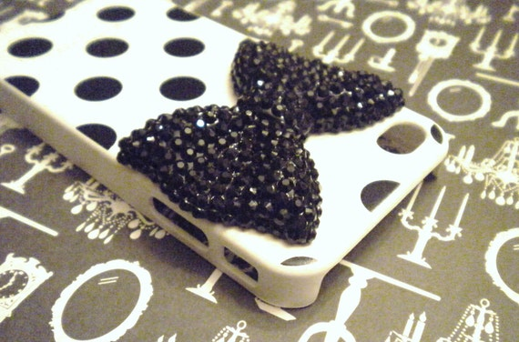 iPhone 4 and iPhone 4S Black and White 3D Black Crystal Bow Polka Dot case