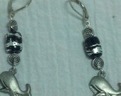 Star Gazing Whale With Black Glass Beads Dangle Earrings