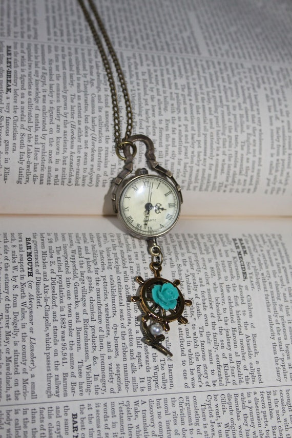 steampunk pendant - Steampunk Nautical double sided pocketwatch pendant with Ship wheel and swallow