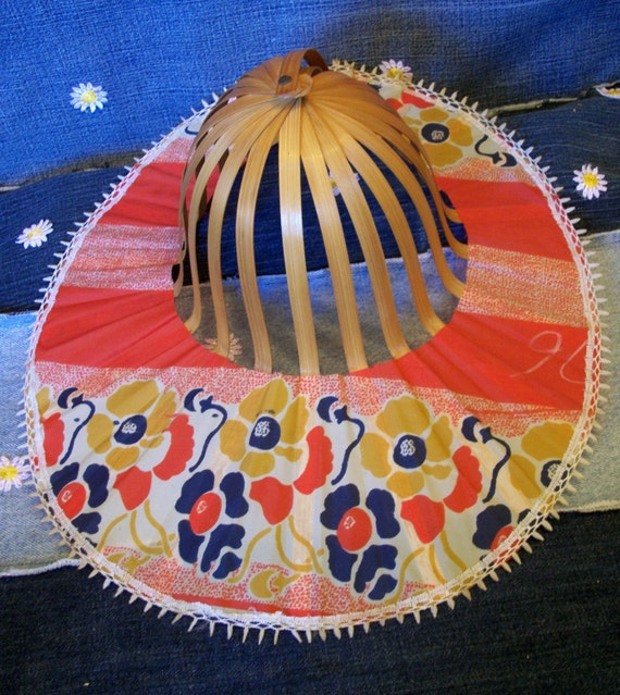 Vintage Bamboo Folding Sunhat, Beach Hat, Asian, Wide Brim, 1970s, Small Enough to Fit in Your Purse