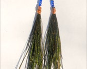 Handmade feather earrings. Long peacock feathers. Copper wiring. Glass royal blue and painted navy beading.