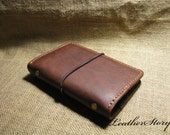 Hand Crafted  Stitched Leather Bound Notebook handmade loose-leaf notebook