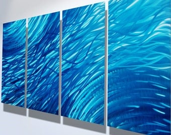 Metal Wall Art Decor Aluminum Abstract Contemporary Modern Sculpture Hanging Zen Textured Water- Ocean