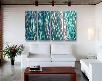 """Metal Art Wall Art Decor Abstract Contemporary Aluminum Modern Sculpture Hanging Zen Textured Water- Amazon 36"""""""