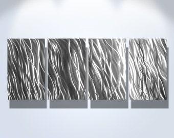 Metal Wall Art Decor Aluminum Abstract Contemporary Modern Sculpture Hanging Zen Textured - Silver Reef