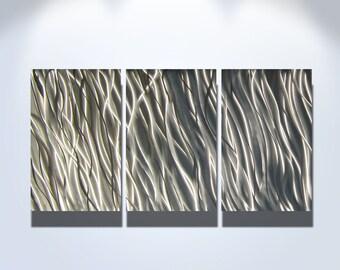 """Metal Wall Art Decor Aluminum Abstract Contemporary Modern Sculpture Hanging Zen Textured - Silver Reef 47"""""""