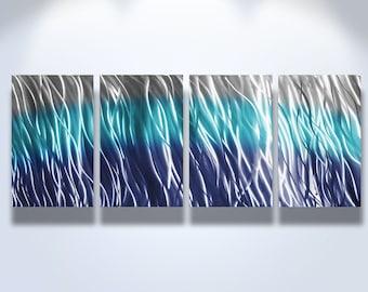 Metal Wall Art Aluminum Decor Abstract Contemporary Modern Sculpture Hanging Zen Textured - Reef Blue 1