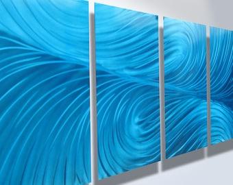 Metal Wall Art Decor Aluminum Abstract Contemporary Modern Sculpture Hanging Zen Textured - Echo Blue 1