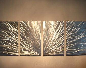 Metal Wall Art Decor Abstract Aluminum Contemporary Modern Sculpture Hanging Zen Textured- Radiance Silver