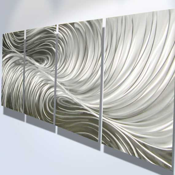 Metal Wall Art Decor Abstract Aluminum Contemporary Modern Sculpture Hanging Zen Textured - Echo