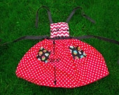 Red Cupcake Apron Handmade Women's Cotton