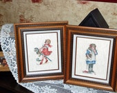 LITTLE GIRLS - 1940S Little Girls Counted Cross Stitch Pictures - Old Fashioned Little Girls - Home Decor - Framed Counted Cross Stitch