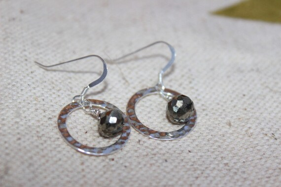 """Onion Faceted Pyrite Dangle Earrings. Sterling Silver Hammered Circle Earrings Hoops.Metallic Luster Pyrite Earring."""" Pyritohedra"""" Rustic"""