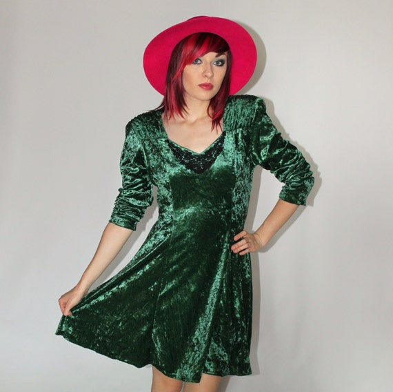 Emerald Green CRUSHED VELVET Renaissance-Inspired Mini Dress