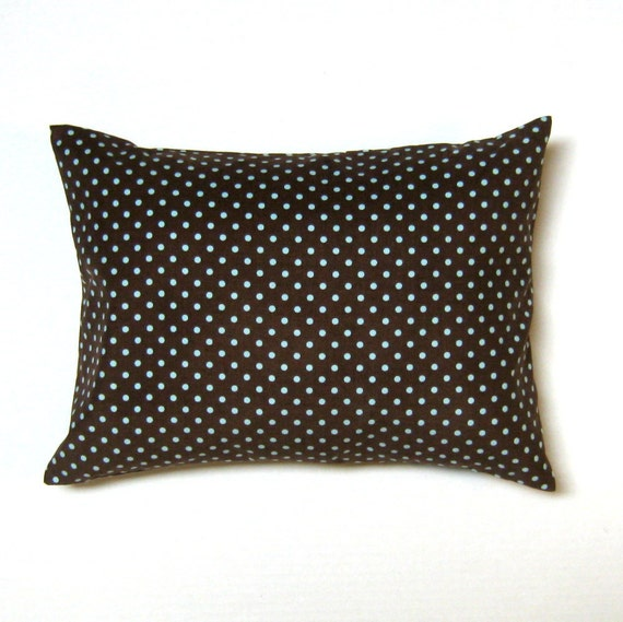 chocolate brown blue dots corduroy  throw pillow cover 12 x 16