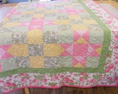 Large Pink, Green and Yellow Floral Patchwork Quilt
