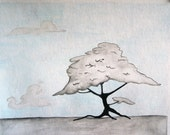 Black white and blue landscape painting, tree illustration
