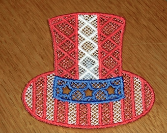 Embroidered Magnet - 4th of July Red, White & Blue Uncle Sam Hat