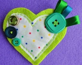 Hand Sewn, Bright Lime Green Fabric and Button Broach