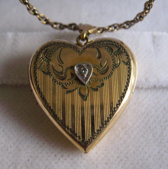 Gold Filled Heart Locket With Small Diamond 1940s