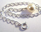 Sterling Silver  5 Inch Necklace Extender Chain with an 8mm Cream Swarovski Pearl Embellishment - Free Shipping in the US -