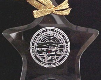 Kansas State Seal - Beveled Glass Ornament