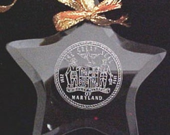 Maryland State Seal - Beveled Glass Ornament