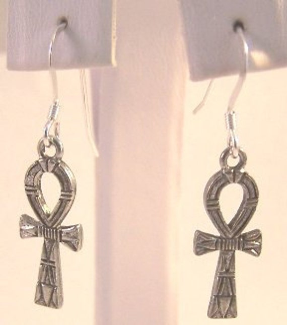 Pewter Ankh Charms on Sterling Silver Ear Wire Dangle Earrings - Free Shipping in the US - (5425)
