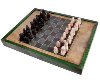 Wood chess board etsy - Chess board display case ...