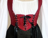 Deep Red Under-Bust Style Lace Up Renaissance Bodice