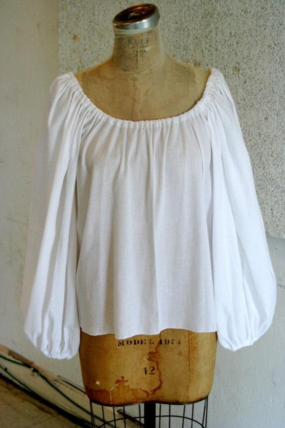 White Peasant Blouse Long Sleeve 87