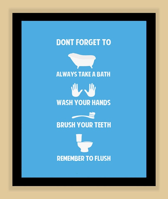 childrens bathroom rules modern print poster 11x14