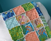 READY TO SHIP - Crib Rag Quilt, for baby or toddler, Cocoon by Valori Wells, girl, butterfly, green aqua pink blue, photo prop