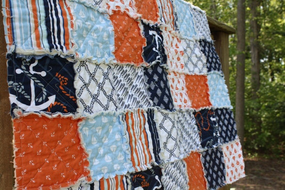 Nautical Themed Twin Size Quilt, Anchors Away by Dear Stella, navy blue orange white, boy