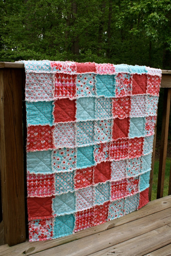 Rag Quilt Patterns For Twin Bed : Items similar to Twin Size Rag Quilt, Red and Aqua by Michael Miller, girl, red, pink, aqua ...