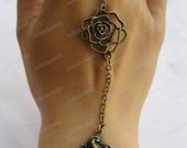 Bracelet-antique bronze flower bracelet,flower ring and bracelet setting,rabbit ring and bracelet setting-Z176