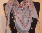 Turkish OYA, Traditional Turkish Yemeni,Grey, Elegant, Needle Tatted Flower Edges, Ready to Ship