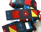 "NAUTICAL FLAGS Jacquard Ribbon - 7/8"""