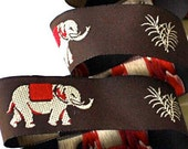 ELEPHANTS on Brown Jacquard Ribbon - 7/8""
