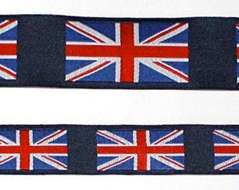 """Mini UNION JACK FLAGS Jacquard Ribbon - 5/8"""""""