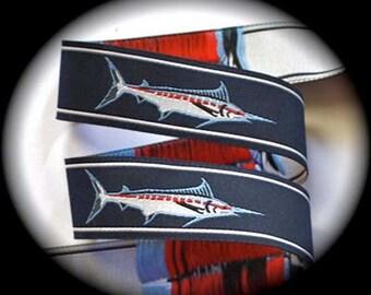"Mini MARLIN FISH on Navy Jacquard Ribbon - 5/8"""